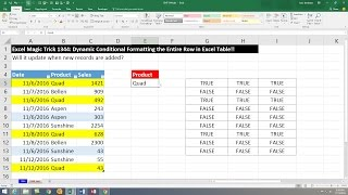 Excel Magic Trick 1344: Conditional Formatting the Entire Row in an Excel Table: Totally Dynamic!!