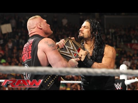 Roman Reigns confronts Brock Lesnar face...