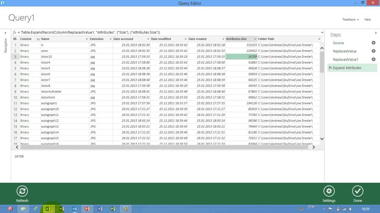 Excel   367 - Data Explorer Preview - Ordner Auswerten - Bildverzeichnis