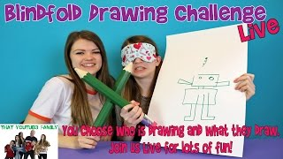 Blindfolded Drawing Challenge / That YouTub3 Family Live Stream