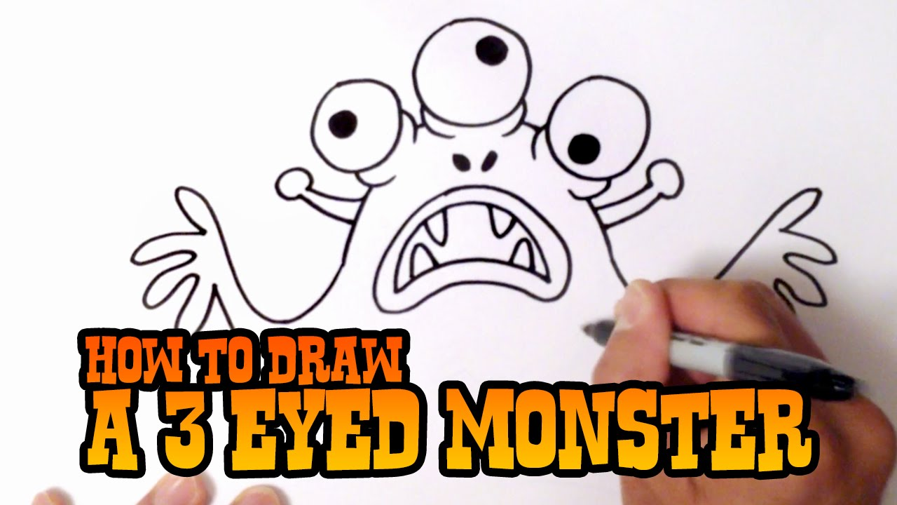 how to draw a 3 eyed monster step by step video youtube