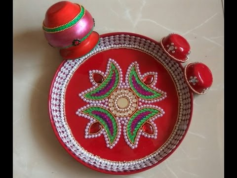 Pooja thali decoration aarti thali decoration for for Aarti thali decoration with pulses