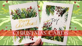 Watercolor Christmas Cards Tutorial For Beginners/ Real Time Demo/ Loose greens  #watercolor