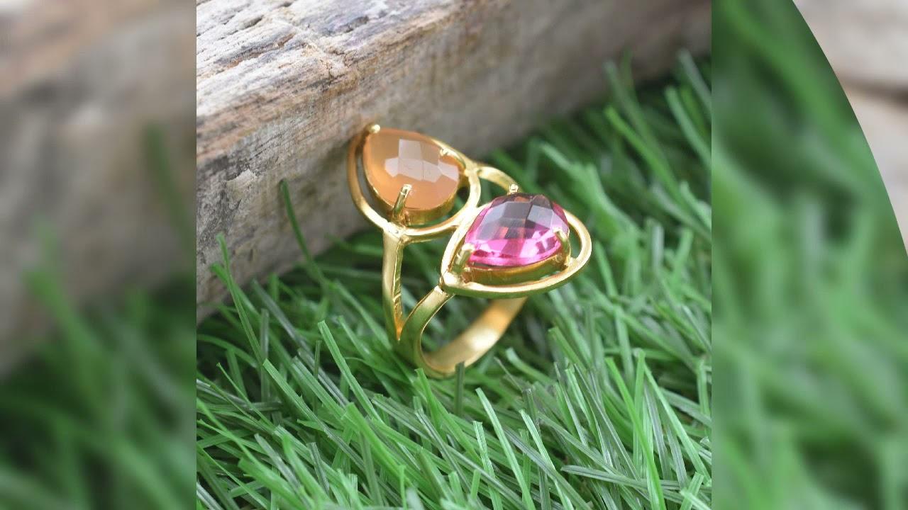 Peach moonstone and hematite wire ringdaintyringstackingring
