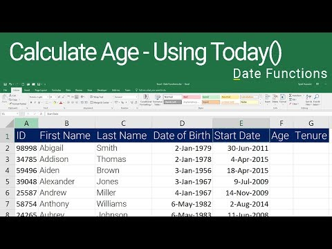 How to find age in years and months in excel
