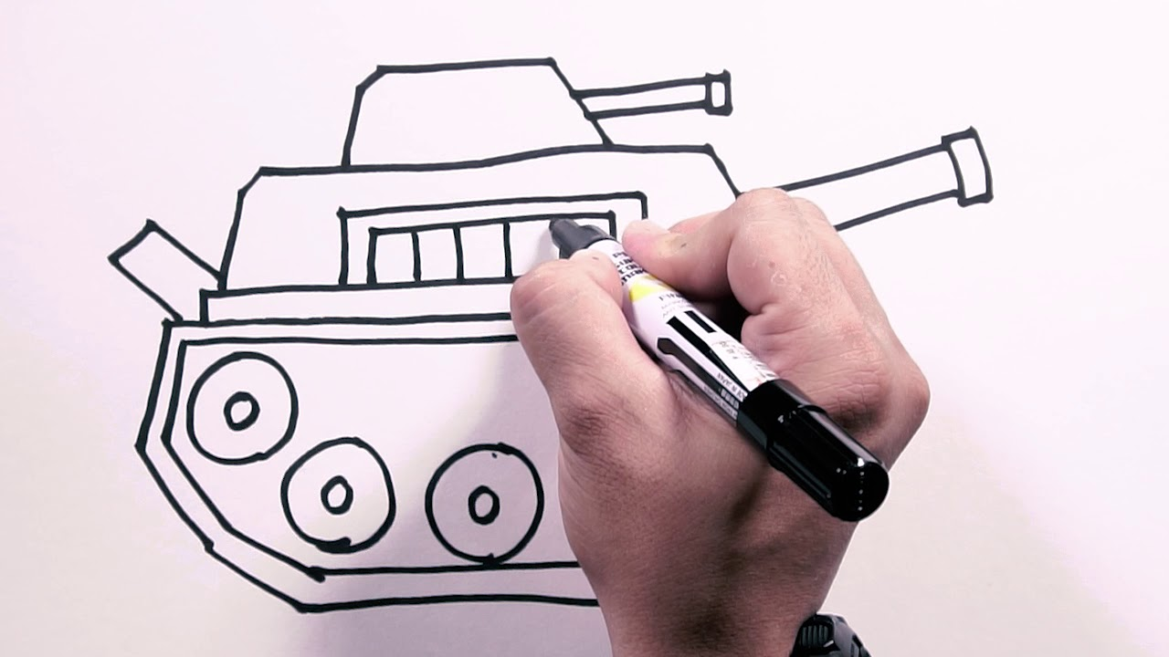How to Draw an Army Tank - Draw Easy | Freehand Easy-to-Follow Drawings