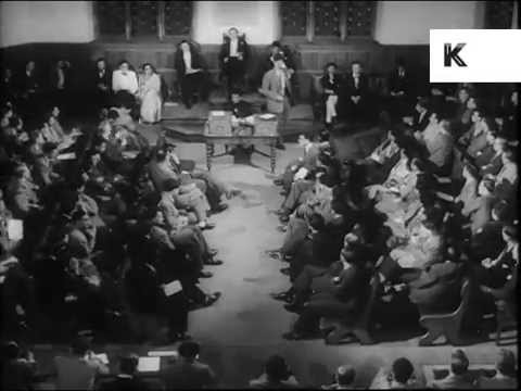 1950s Oxford University Union Society Meeting, Archive Footage