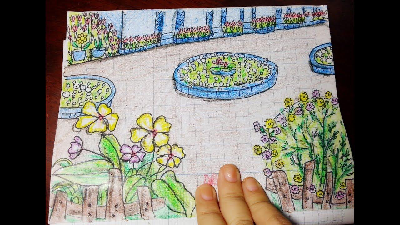 Vẽ Vườn Trường Mơ Ước Đơn Giãn Nhất/ Vẽ Khu Vườn Mùa Xuân Sắc Màu
