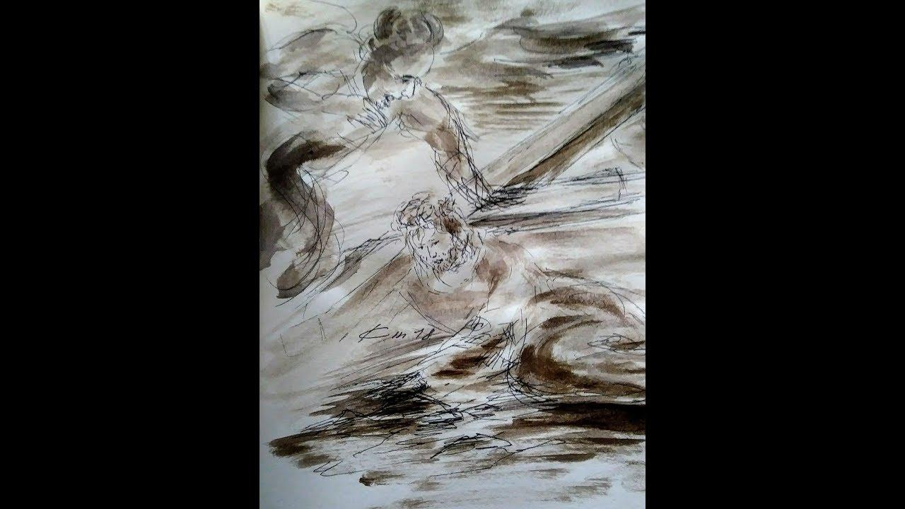 Chemin de croix illustré par des dessins au lavis de Jean-Joseph Chevalier