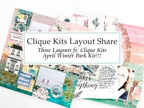 Clique Kits April Layout Share ft. April Winter Park Kit!!!