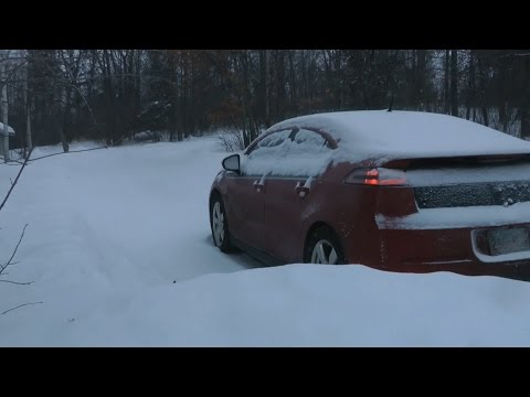 2012 Chevy Volt with Snow Tires in the Snow