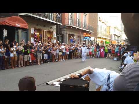 New Orleans Street Dancers - Naked Guy on Balcony - Bourbon Street