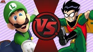 LUIGI vs ROBIN! (Mario vs DC Comics) de dibujos animados de la Noche de Lucha Episodio 3
