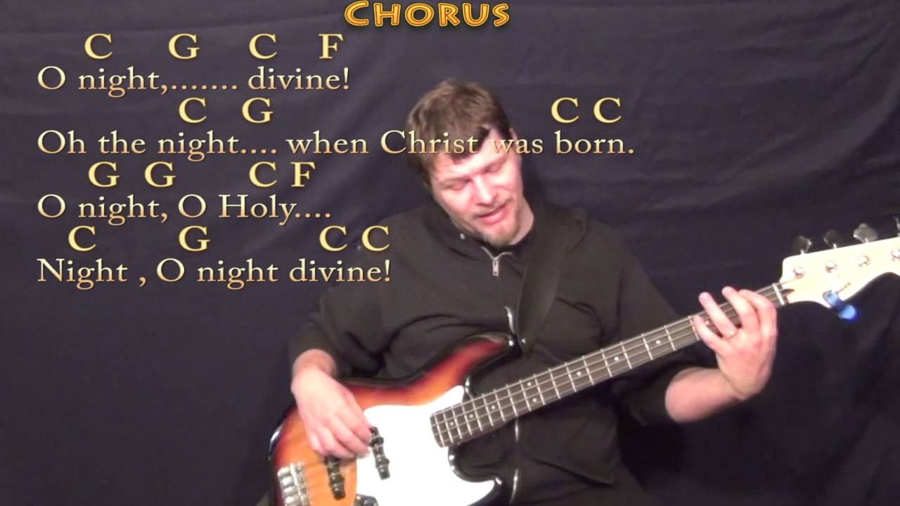 O Holy Night Bass Guitar Cover Lesson In C With Chordslyrics