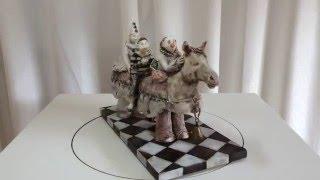 Bluethner Ceramic Sculpture Clowns Horse