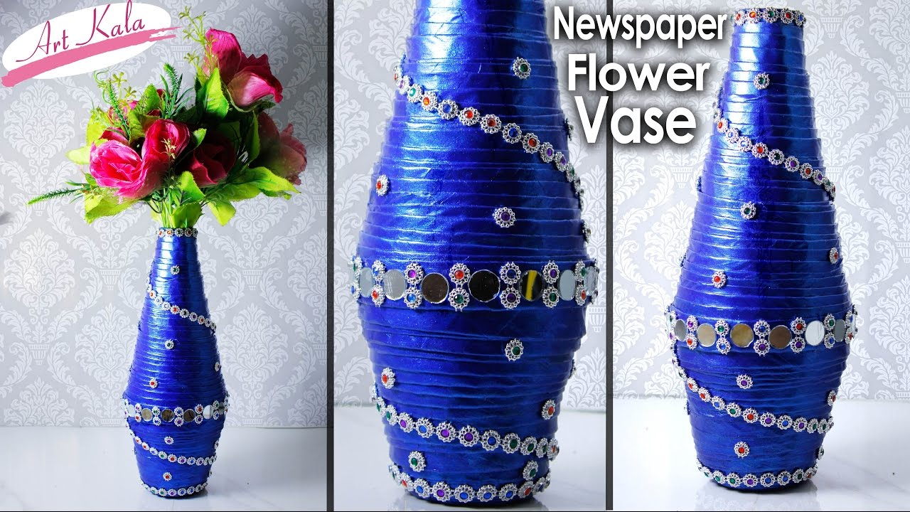 How to make newspaper flower vase newspaper craft best for Making best from waste