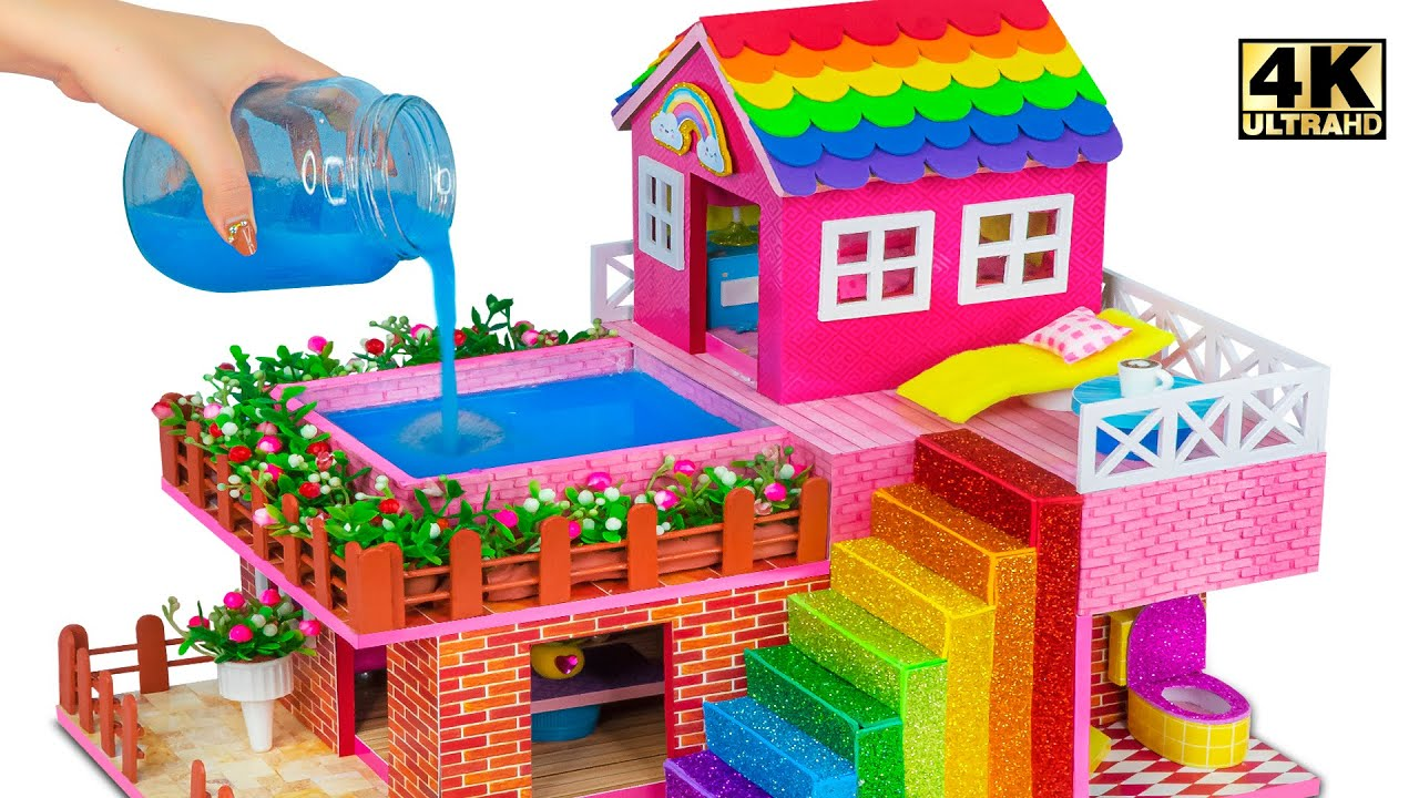 Download Build Technologically Modern Cardboard Houses with Swimming Pool and Bathroom ❤️ DIY Miniature House