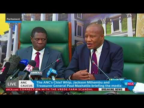 Paul Mashatile briefs media after the ANC caucus
