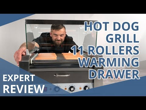 Hot Dog Grill - 11 Rollers - Warming Drawer - Stainless Steel