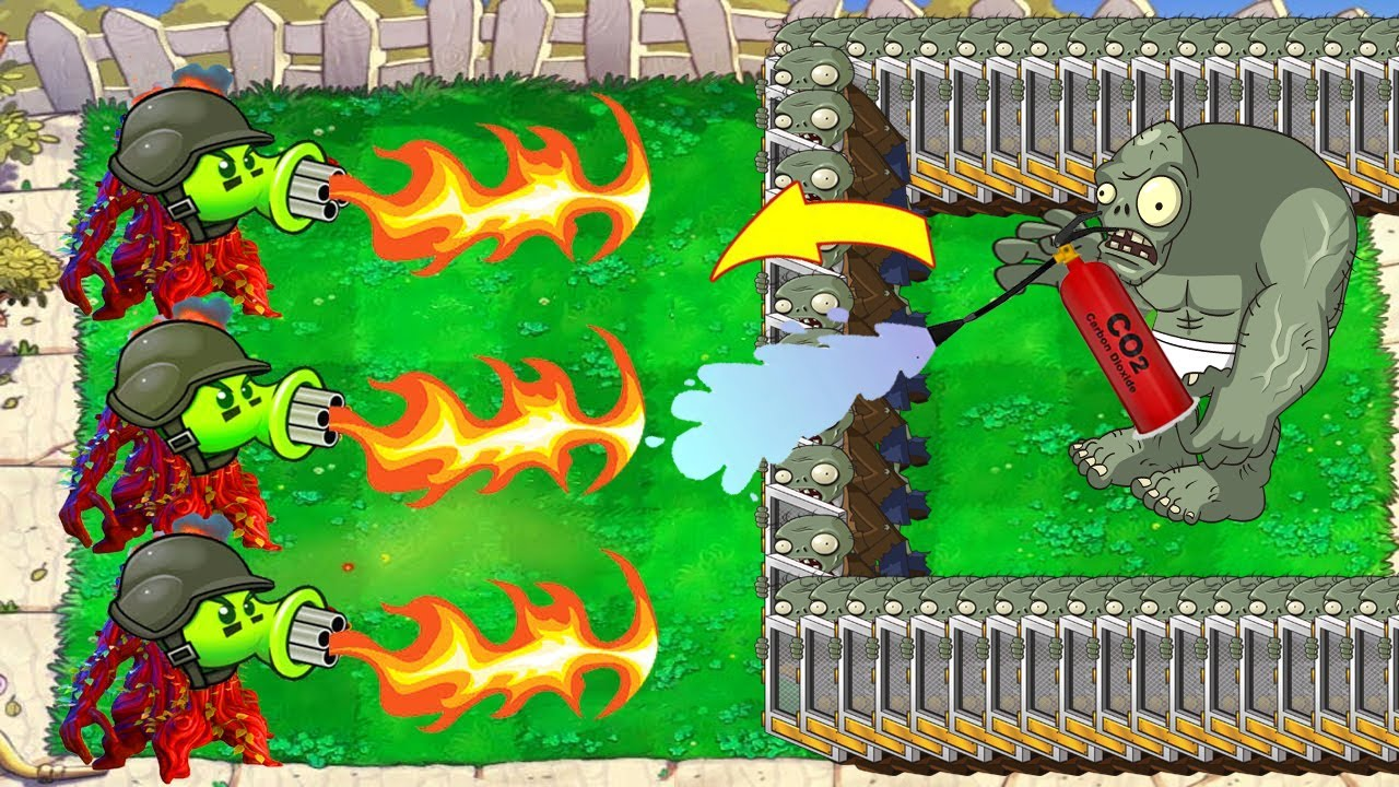 Gatling Pea Fire Vs Screen Door Zombie Zomboni Epic Hack Plants vs Zombies