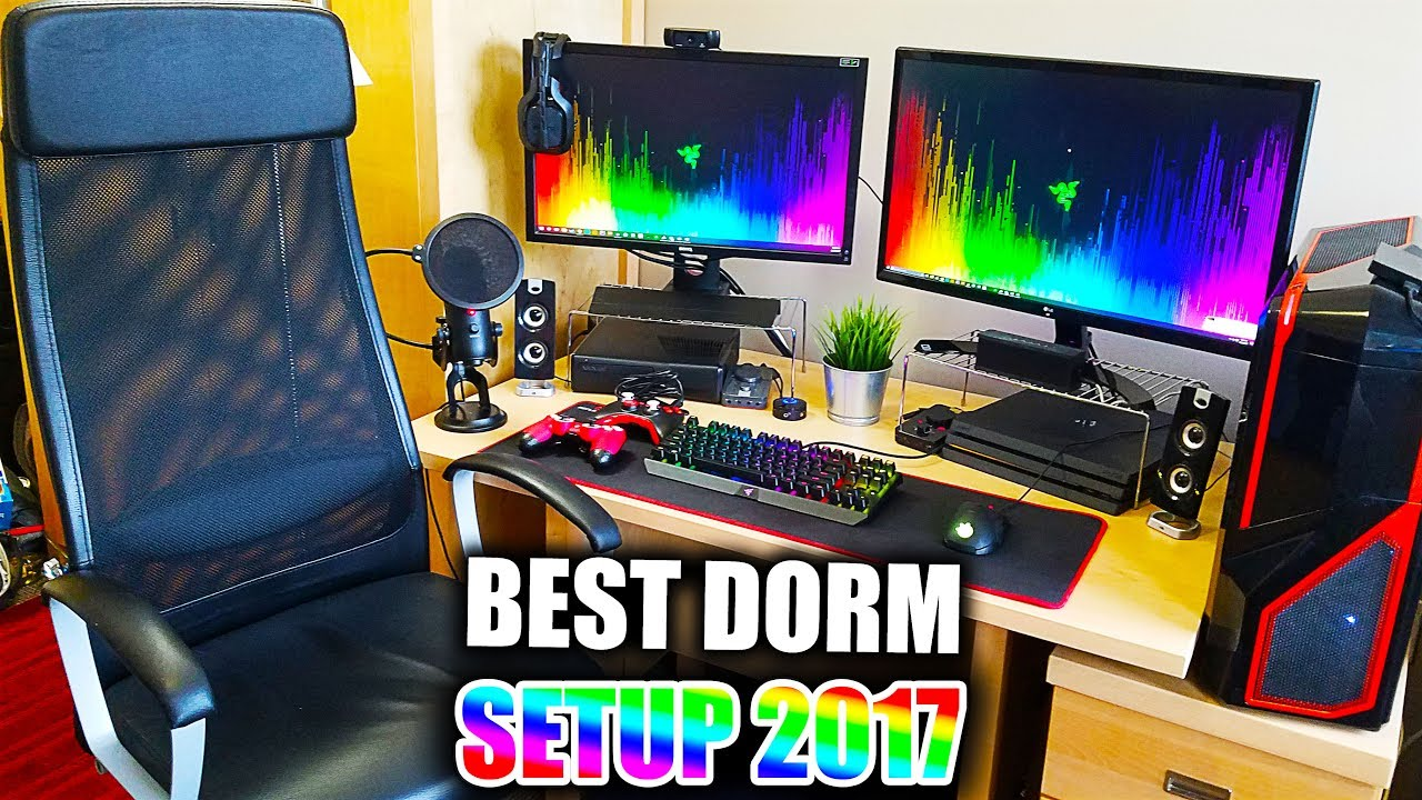 Insane College Dorm Room Gaming Pc And Console Setup 2017 Ps4 Xbox Best