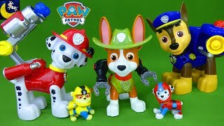 Paw Patrol Jumbo Action Pups Tracker Chase Skye Rocky Rubble Marshall Sea Patrol Toys Video for Kids
