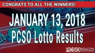 PCSO Lotto Results Today January 13, 2018 (6/55, 6/42, 6D, Swertres, STL & EZ2)