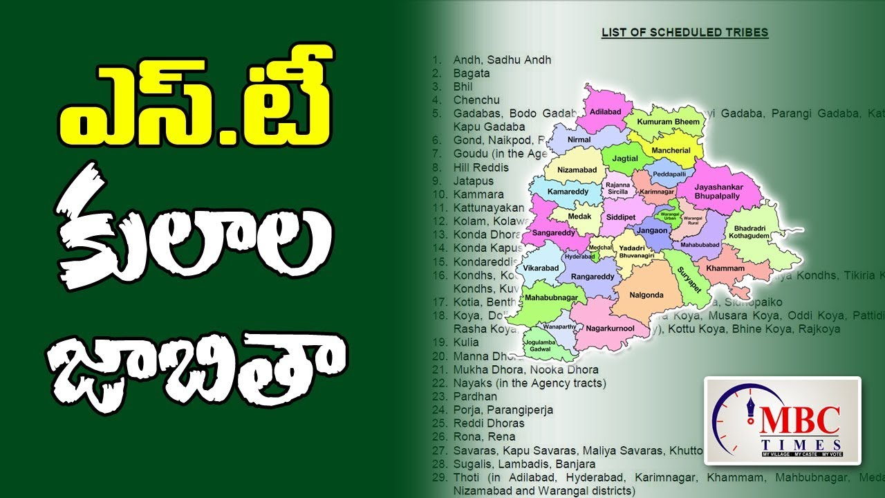 Telangana State ST Caste List | List of Scheduled Tribes
