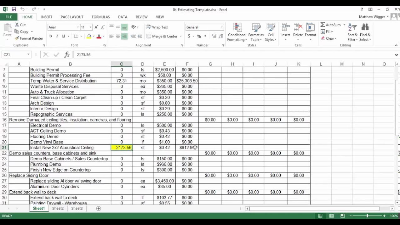 Isqft Takeoff Video Series Sending Values To Excel Youtube