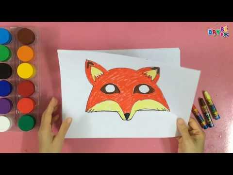 Làm đồ chơi trung thu | Cách vẽ mặt nạ con vật con cáo cho bé | Dạy bé học