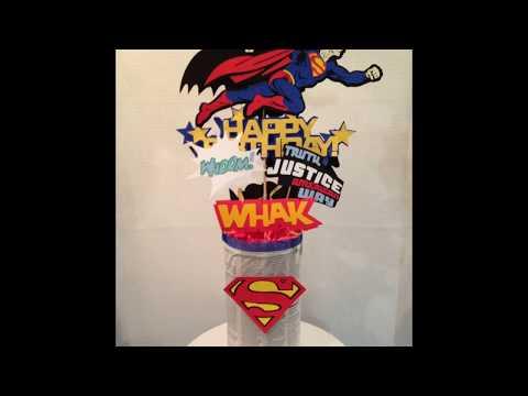 Cricut Cartridge Batman, Superman centerpieces #1