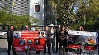 Возле посольства Украины в Афинах прошел пикет антифашистов