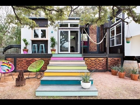 400 Sq ft BohemianStyle Small House on Wheels YouTube
