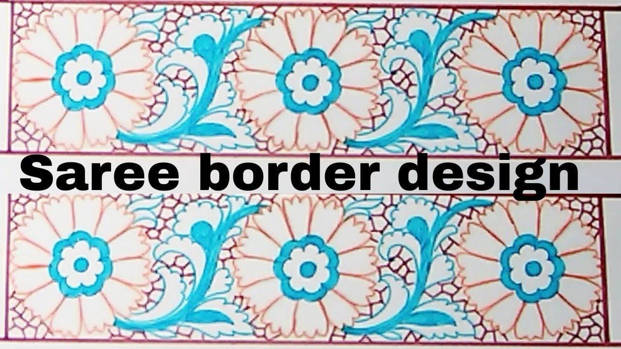 How To Draw Embroidery Designs Saree Border Design Drawing Border Designs Patterns
