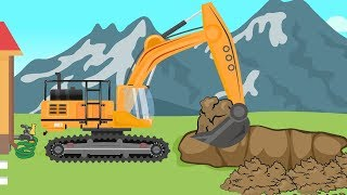 .Big Excavator, Bulldozer and Trucks - digging for the pool | vehicles for children - Bajki Koparki