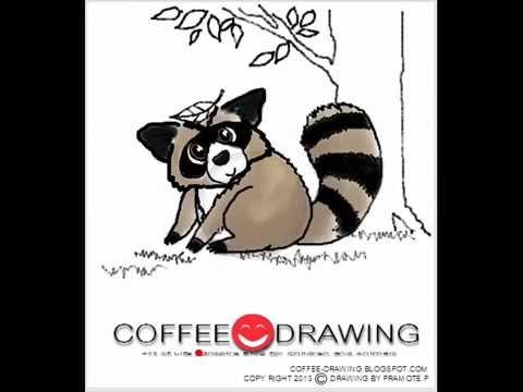 how to draw Raccoon] สอนเด็กวาดรูปการ์ตูน แรคคูน ตามขั้นตอนง่ายๆ [by coffee-drawing]