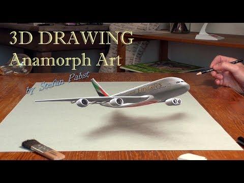 Drawing a Plane/ 3D Trick Art #Emirates #A380 #EmiratesA380
