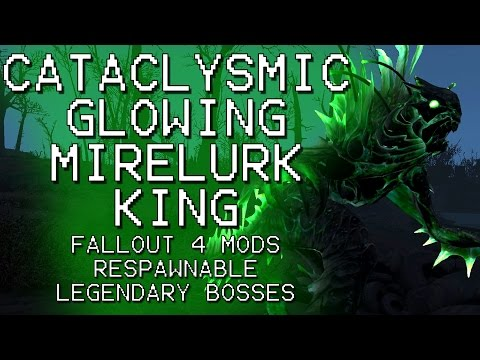 Fallout 4 - Cataclysmic Glowing Mirelurk King On Survival Mode - Respawnable Legendary Bosses Mod