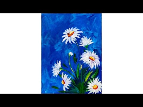 Easy DAISY Acrylic painting tutorial with LADYBUG
