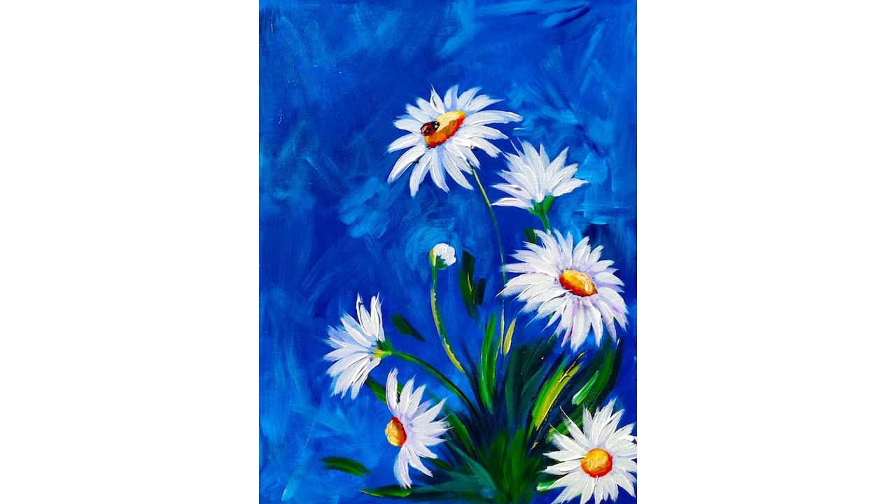 Easy DAISY Acrylic painting tutorial with LADYBUG - YouTube
