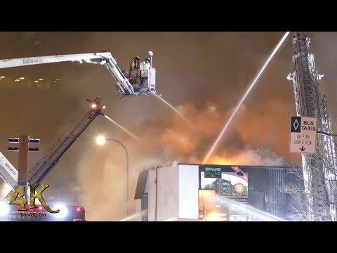 Montréal: Incendie commercial Crémazie / Extensive fire fighting at 4th alarm 1-22-2018