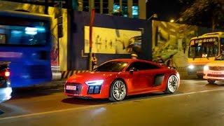 Đông Nhi - Ông Cao Thắng xuất hiện cùng siêu xe Audi R8 13 tỷ nổi bật trên phố