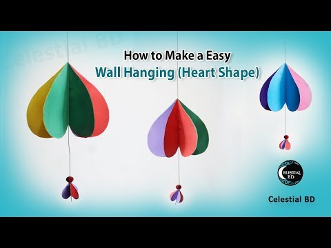 How to make easy paper wall hanging || heart shape wall hanging || wall hanging