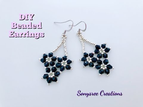 Falling Flower Earrings.DIY Beaded Earrings