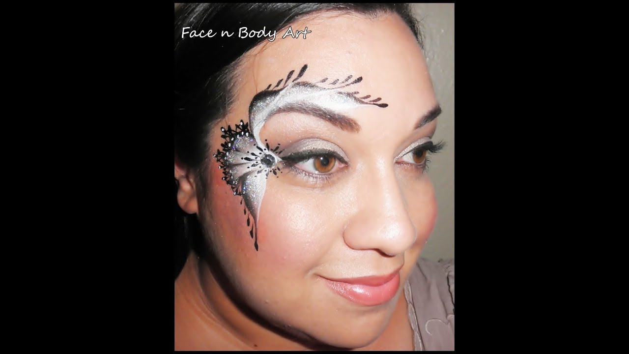 black and white lace face painting tutorial - YouTube