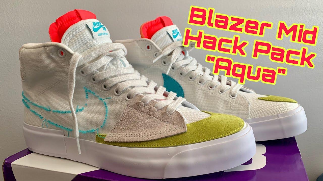 "Ten cuidado Masaje Maravilloso  Nike SB Blazer mid edge hack pack ""Aqua"" unbox and on feet! 👟 🔥 - YouTube"
