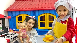 Saliha and Hafsa Playing cafe | Compilation video with food toyd