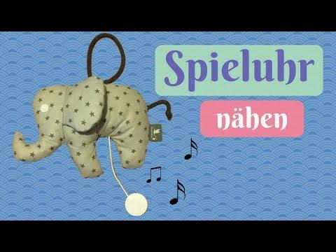 Spieluhr Elefant nähen mit gratis Schnittmuster/ Geschenk zur Geburt - Nähanleitung für Anfänger