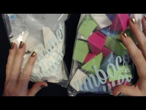 ASMR Request ~ Crinkling Cosmetic Wedges Bag / Counting / Sorting (Whisper)