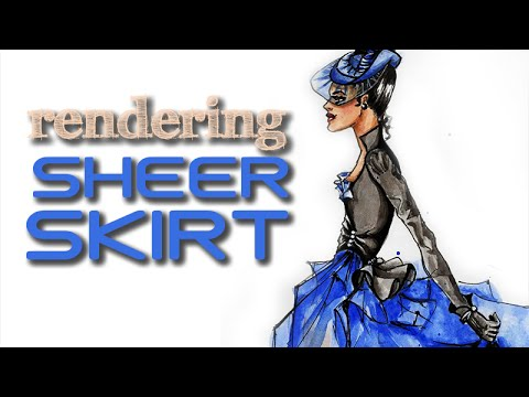Victorian Blue Fairy Tale: Sheer Skirt Black Bodice & Gloves:Fashion Illustration